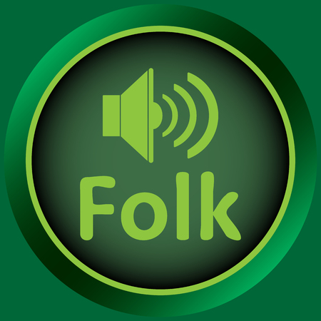 sounding: Icon the button with musical style and the loudspeaker Illustration
