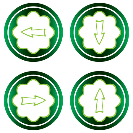 sharp curve: Green icons clipart with arrows up, down, left, right