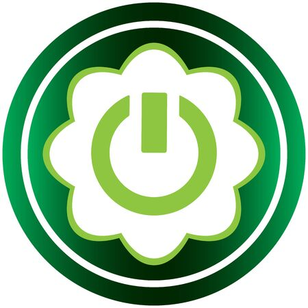 shut off: Green icon with a symbol of inclusion and switching off