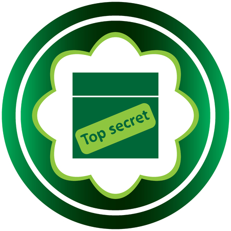 top secret: Conceptual green icon with an inscription top secret