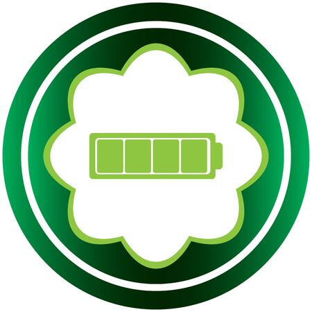 Green icon with a symbol of the charged battery