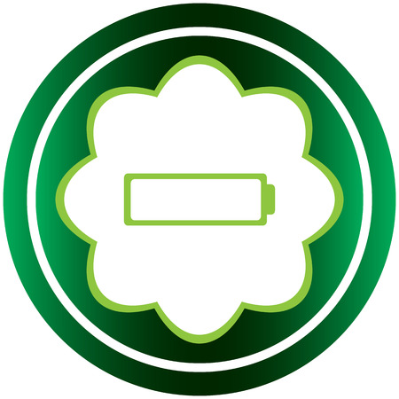 Green icon with a symbol of the empty battery