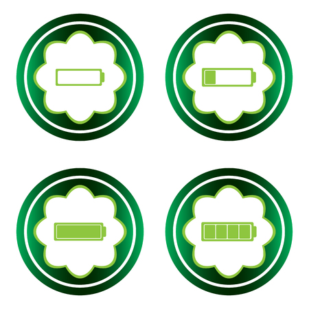 settled: Green icons clipart charged battery on the white