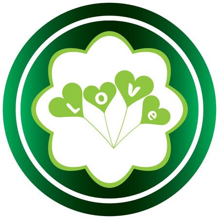 st  valentine's: Green icons St. Valentines Day love balloons Illustration