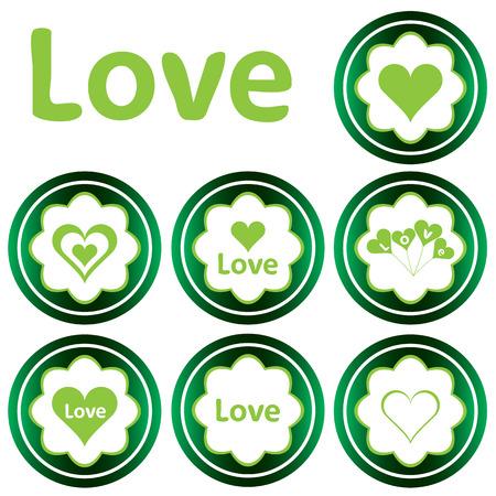 st  valentine's: Green icons St. Valentines Day love heart Illustration