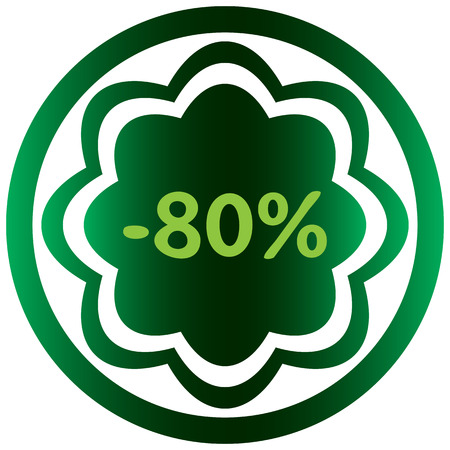 Green icon the button with a symbol of percent Illustration