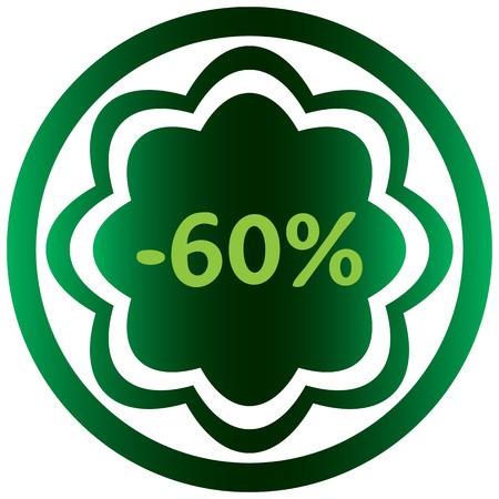 Vert icône sur le bouton avec un symbole de pour cent Banque d'images - 57440771