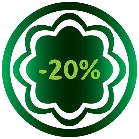 Vert icône sur le bouton avec un symbole de pour cent Banque d'images - 57440773