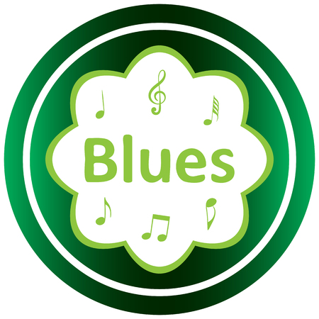 sounding: Green icon with music notes and the musical style Illustration