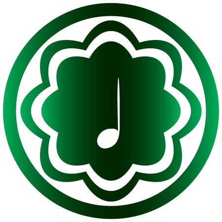 sounding: Green icon the button with a music note
