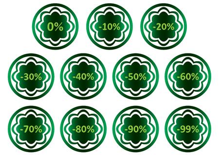 Clipart avec des icônes vertes avec des symboles de pour cent Banque d'images - 57606015