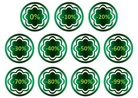 Clipart with green icons with symbols of percent