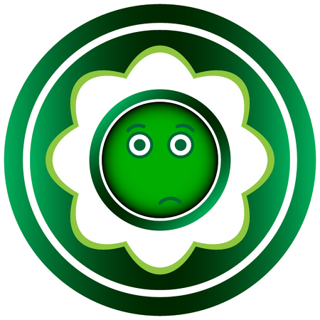 dissatisfied: Green icon with the conceptual abstract face Illustration