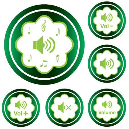 decibel: Clipart with green icons with different loudspeakers