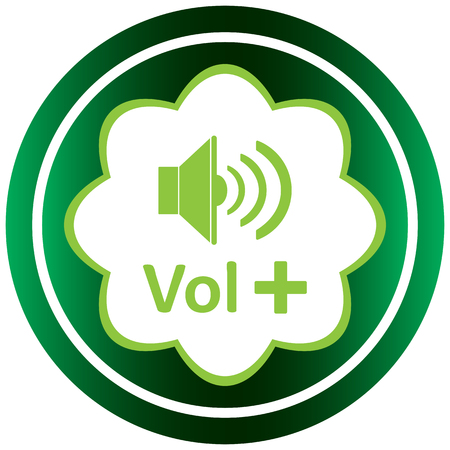 Green icon with the classical loudspeaker and a volume