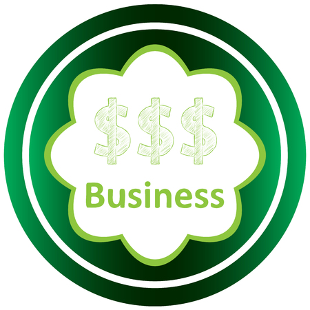 Green icon with symbols business of subject Illustration