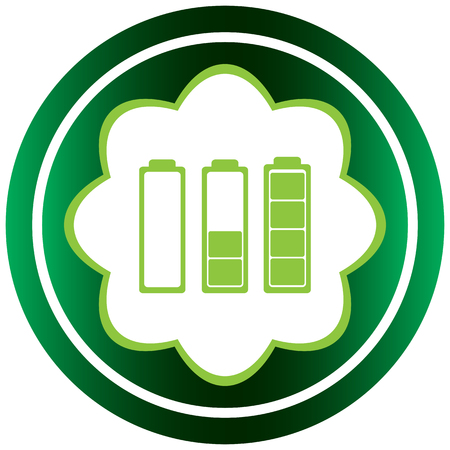 Conceptual green icon with the charged batteries