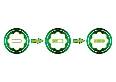 Conceptual green icons with the charged battery