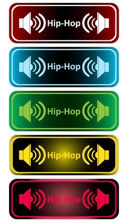 hiphop: Clipart with color loudspeakers and an inscription hip-hop Illustration