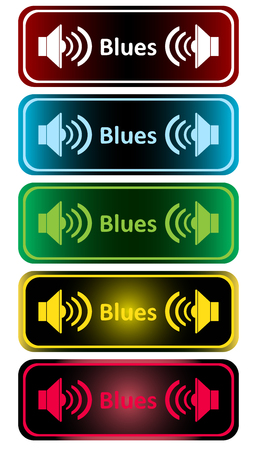sounding: Clipart with color loudspeakers and an inscription blues