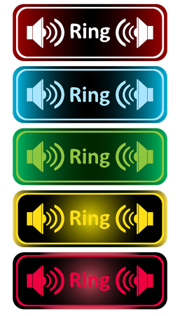 loudness: Clipart with color loudspeakers and an inscription ring