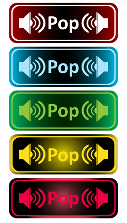 sounding: Clipart with color loudspeakers and an inscription pop Illustration