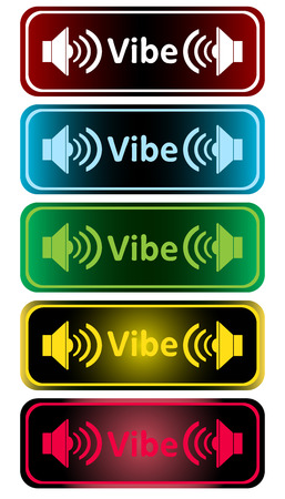 sounding: Clipart with color loudspeakers and an inscription vibe