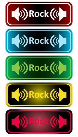 sounding: Clipart with color loudspeakers and an inscription rock