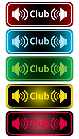 loudness: Clipart with color loudspeakers and an inscription club