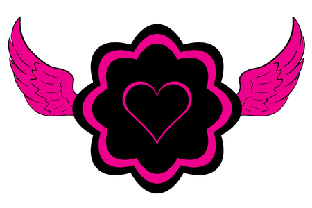 winged: Winged icon with pink black symbol of heart