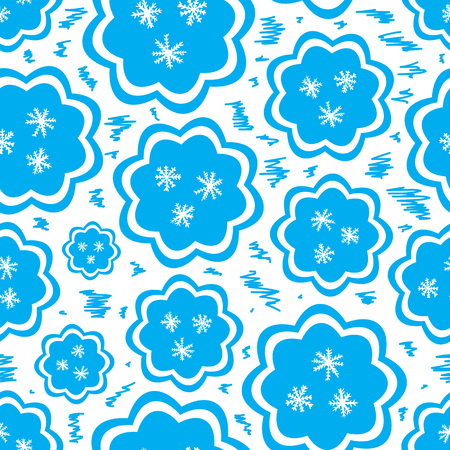 blizzards: Seamless texture with blue icons of snowflakes