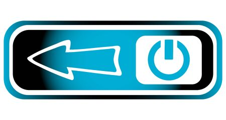 inclusion: Long blue icon with inclusion symbol and arrow Illustration