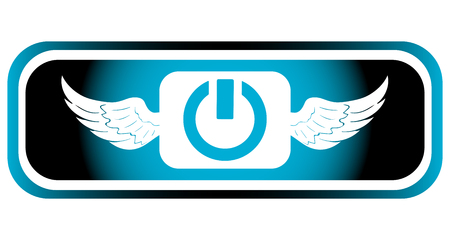 inclusion: Long icon with a winged symbol of inclusion Illustration