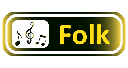 loudness: Long icon with a yellow gradient and the inscription folk Illustration