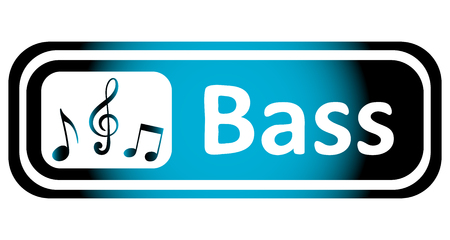 sounding: Long icon with notes and a treble clef and the word bass Illustration