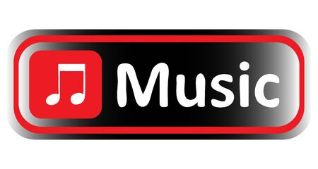 sounding: Long icon with it is red black gradient and a musical inscription Illustration