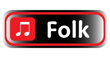 Long icon with it is red black gradient and a musical inscription Illustration