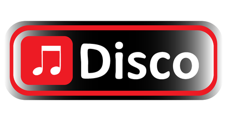 loudness: Long icon with it is red black gradient and a musical inscription Illustration