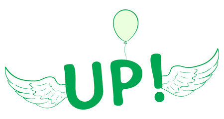 flit: Illustration with a green winged inscription and a balloon