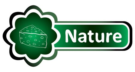 preservatives: Green icon gradient cheese and inscription nature