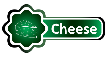 Green icon gradient food and inscription cheese