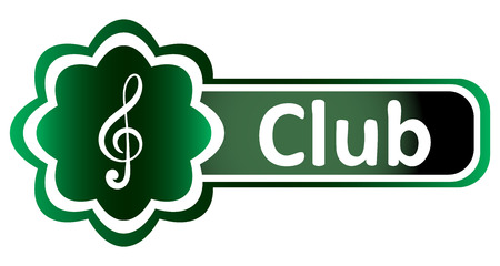 sounding: Double icon with a symbol of a treble clef and inscription club Illustration