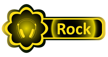 earphones: Double icon with a yellow gradient rock earphones