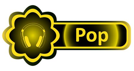 Double icon with a yellow gradient pop earphones Illustration