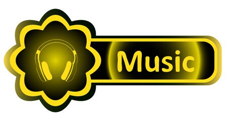 Double icon with a yellow gradient music earphones Illustration