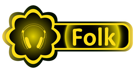 Double icon with a yellow gradient folk earphones