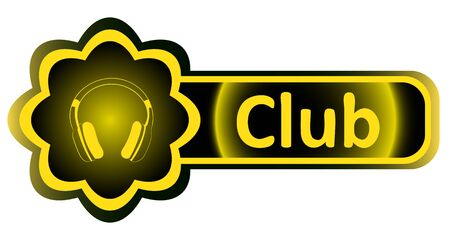 Double icon with a yellow gradient club earphones