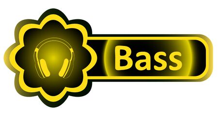 Double icon with a yellow gradient bass earphones Illustration