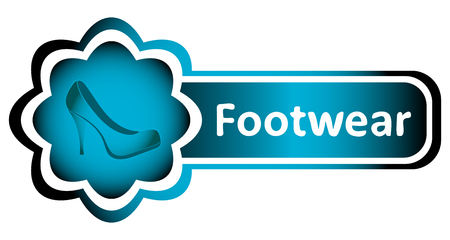 Double blue icon with footwear and an inscription Illustration