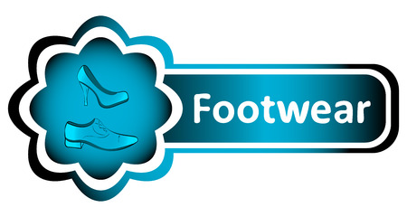 shoe shop: Double blue icon with footwear and an inscription Illustration